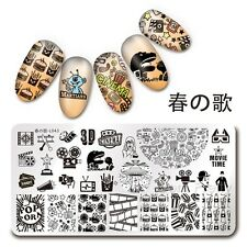 Nail Art Stamping Plate Cinema Moive Time 1Pc Manicure Template Harunouta L043