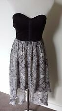 dotti dress evening party size 6 fitted bustiere waterfall black patterned skirt