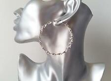 """Gorgeous shiny silver tone twisted style hoop earrings, * NEW *  6cm - 2.4"""""""