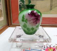 """VICTORIAN HAND PAINTED GREEN AND RED FLORAL 4 5/8"""" MILK GLASS BUD VASE"""