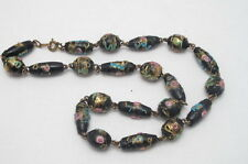 ANTIQUE VINTAGE  MURANO VENETIAN GLASS BEAD NECKLACE WEDDING CAKE PINK ROSE