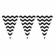 9ft Black White Chevron ZigZag Pennant Party Flag Banner Bunting Decoration