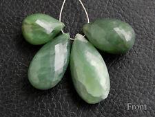 Green Nephrite Cats Eye Faceted Pear Briolette Semi Precious Gemstone Beads