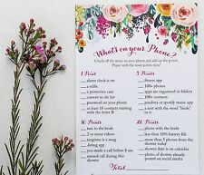 What's On Your Phone Game - Floral Rustic (50-sheets) Bridal or Baby Shower Game