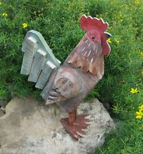 BiG Rustic Wood Rooster Statue*Primitive/French Country Farmhouse Cabin Decor