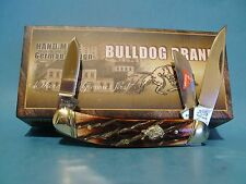 Bulldog Brand pocket knife Sowbelly Brindle Bone Handle with Display gift Box
