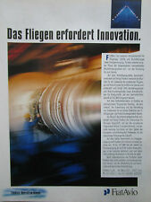 5/1990 PUB FIAT AVIO GAS TURBINE GASTURBINEN AVIATION ESPACE ORIGINAL GERMAN  AD