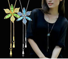 Austria Crystal Gold Plated Long Chain Green Flower Adjustable Pendant Necklace