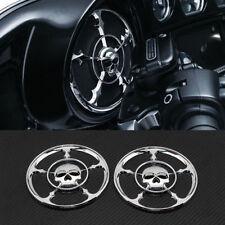 Chrome Skull Speaker Trim Grill Cover 4 Harley Touring Electra Street Glide USA