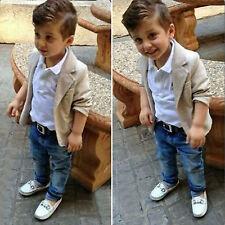 3pcs Baby Boy Kids Toddler Blazer Suit Coat+ Dress Shirt+ Jeans Pants Outfit Set