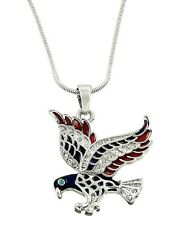 PATRIOTIC 4TH OF JULY RED, WHITE & BLUE RHINESTONE SILVER TONE EAGLE NECKLACE