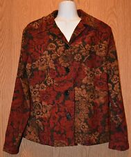 Womens Pretty Floral Print Briggs New York Long Sleeve Shirt Size Medium exc