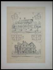 MAISONS A HAMPSTEAD ET BRIGHTON - 1890 - GRANDE LITHOGRAPHIE - BRIGGS, JAY
