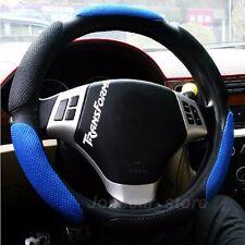 """38cm 15"""" Black-Blue Sandwich Rubber Automotive Car Steering Wheel Cover Grip"""