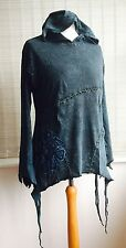 Gringo L/XL 14 Large Pixie Top Hooded Pixie Tunic Hippy festival Blue Emo Goth
