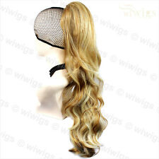 Ladies Long Wavy Blonde mix Ponytail Jaw Claw Clip in Hair Piece Extension UK