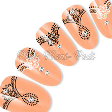 Nail Art Water Decals Transfers Stickers Black & White Lace Henna Garter Y188A