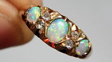 Antico Edoardiano naturale Opal & Diamante 18CT GOLD RING CHESTER