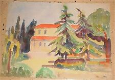 14 x 19 Pine Trees & House Landscape W/C-Otto Rothenburgh-40s