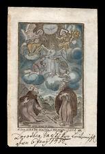 santino incisione 1700 SS.GIOVANNI DE MATHA E FELICE DI VALOIS  dip. a mano