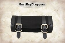 La Rosa Harley Chopper Universal Front Tool Bag - Black Canvas w Black Leather