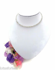 Crystal Choker Torque Style Necklace Channel Set Silver Tone Diamante BEAUTIFUL!