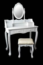 MARRY Make-up table Vanity Makeup Table with mirror & Stool Vintage White