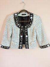 WHITE HOUSE/BLACK MARKET White Tweed Beaded Embellished Jacket 3/4 Sleeves 00