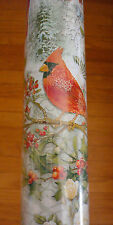 Punch Studio Christmas Gift Wrap Roll Cardinals Poinsettias Peace on Earth  NEW