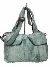 Pre-Owned Latico Satchel Bag Antique Leather Green 2 Front Flap Pockets