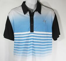 New Men's PUMA Dry Cell Striped Golf Polo Athletic Shirt size XL NWT