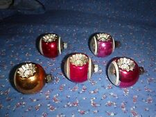 "Christmas Ornaments 5 Vintage Shiny Brite Double Indent About 2 5/8"" H w/Loop"
