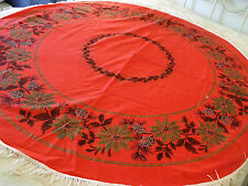 """Christmas Red Poinsettia Pine Cones Holly 3"""" Fringe Table Cloth About 54"""""""