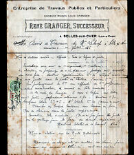 """SELLES-sur-CHER (41) MATERIAUX DE CONSTRUCTION """"René GRANGER"""" en 1935"""