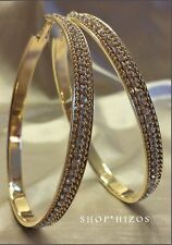LARGE GOLD 3 INCH PAVE CRYSTAL ACRYLIC HOOP STATEMENT EARRINGS NEW