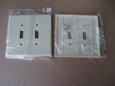2pc Leviton 86109 2 Gang toggle Ivory oversize bakelite wall plate switch cover