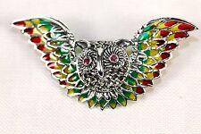 OWL SILVER BROOCH ENAMEL WINGS RUBY EYES Plique-à-jour WINGS RED YELLOW GREEN