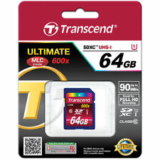 Transcend 64GB 90MB/s 600X Class 10 Ultimate SDXC Memory Card (TS64GSDXC10U1)