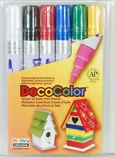 Marvy Uchida DecoColor Glossy Oil Base Broad Tip Paint Markers 6pc Base Colors