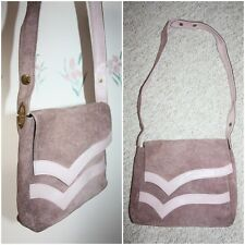 VTG Suede Real Leather Bag Cross Body Medium Pink Long Strap Work 80s Messanger