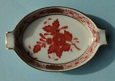 HEREND CHINESE BOUQUET ORANGE RUST Antique Porcelain PEONY Flower Decor ASHTRAY
