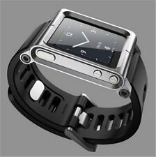 Aluminum Multi-Touch Watch Band Kit Wrist Strap Bracelet For iPod Nano 6 Black