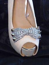 2 Clips De Arco De Plata Estilo Tachonado Diamante Para Zapatos