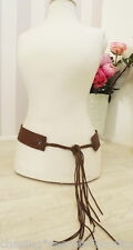 RALPH LAUREN Western Mexicana Tassel FLORAL TAN LEATHER Coachella Belt 31""