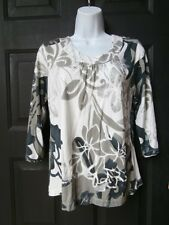 NEW NWT CHICOS TOP SPANDEX FLORAL METALLIC SZ 1