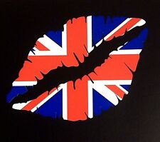 UNION JACK Lips Car Bumper vinyl Sticker 13.5cm Iphone Ipad Wall Art UK Team GB