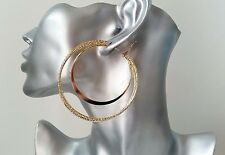 "Gorgeous large gold tone double hoop earrings, 7cm - 2.75"" * NEW * Lovely hoops!"
