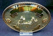 "NEW Rodeo TEAM ROPING Trophy Belt Buckle 5"" Oval Western Hand-made German Silver"