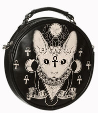 Banned Bastet Egyptian Cat Siamese Sphynx Occult Illuminati Round Shoulder Bag