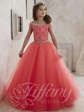 Tiffany Princess 13458 Hot Coral Stunning Girls Pageant Gown Dress sz 8